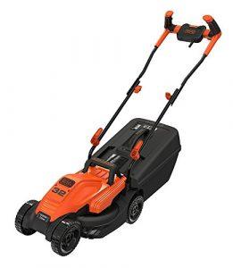 Black+Decker Elektro-Rasenmäher mit Fahrradlenker-Griff (1.200W, 32cm Schnittbreite, 3-fach axial Höhenverstellung, 35l Fangbehälter, ideal für kleine Gärten) BEMW451BH