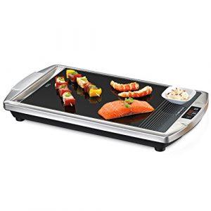ROMMELSBACHER CG 2308/TC Ceran®-Grill (Made in Germany, Grillen auf Glas, bis 380°C, Tischgrill mit Touch Control & LED-Display, große 36x27cm Grillfläche, Warmhaltezone, 2000 W) Edelstahl