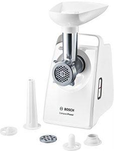 Bosch MFW3520W CompactPower Fleischwolf (500 W, 1500 W Blockierleistung, 1,8 kg/Min, vielseitige Speisezubereitung, Kebbe-Aufsatz, Wurststopfervorsatz, sicherer Stand) weiß
