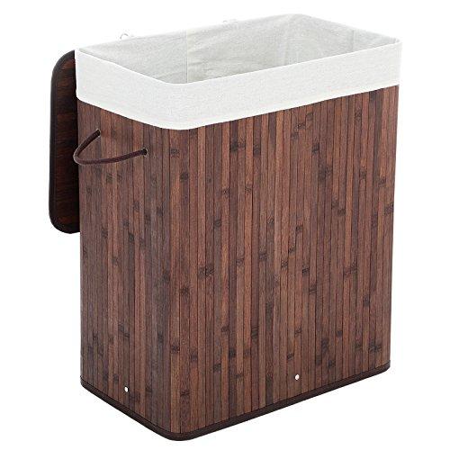 SONGMICS faltbar Bambus Wäschekorb Wäschetruhe Wäschekiste Wäschetonne mit Deckel Wäschesammler 100 L 62,5 x 52 x 32 cm Wäschebox mit Wäschesack zum Herausnehmen Braun LCB61Z