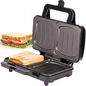 TZS First Austria – 900 Watt Sandwichtoaster für XXL Toast-Scheiben | Thermostat | Backampel | elektrischer Sandwichmaker mit Muschelform | Sandwich-Grill | schwarz | für große Sandwichtoast geeignet
