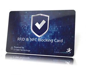 MakakaOnTheRun® RFID NFC Blocker Karte (RFID Schutzkarte) – Siehe Video: Eine Karte schützt gesamte Geldbörse vor Datenklau (Blau)
