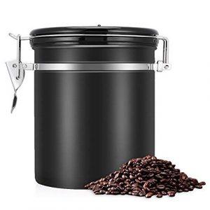 eecoo Kaffeedose Luftdicht,Kaffeedose,Kaffeebehälter,Kaffeedose Edelstahl Aromadose Vorratsdose Vakuum Dose für Kaffeebohnen, Pulver, Tee, Nüsse, Kakao(Schwarz, 1.5 Liter)
