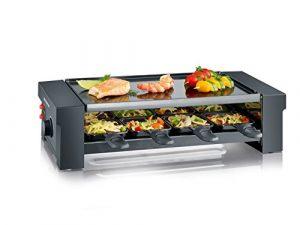 SEVERIN Pizza-Raclette Grill mit Wendegrillplatte, ca. 1.150 W, Inkl. 8 Pfännchen, Pizzateigausstecher und 8 Holzspachteln, RG 2687