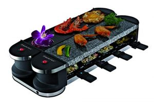 SUNTEC Raclette RAC-8069 Flex 8 metal/stone [Für 8 Personen, Steinplatte & Grill, 180° auf-/zuklappbar durch innovative Drehgelenkkonstruktion, max. 1400 Watt]
