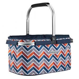 anndora Einkaufskorb 22 Liter Korb Picknickkorb – dunkelblau orange