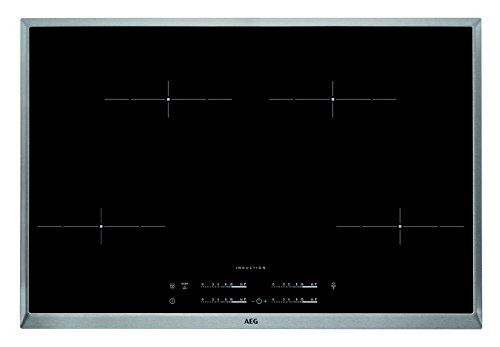 AEG HKA8540IND Autarkes Kochfeld / Induktion / Hob²Hood / Slider-Bedienung / 80 cm / Edelstahlrahmen / 4 Kochzonen / Powerfunktion / Kindersicherung