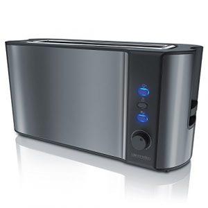 Arendo – Automatik Toaster Langschlitz | Defrost Funktion | Wärmeisolierendes Doppelwandgehäuse | integrierter Brötchenaufsatz | herausziehbare Krümelschublade | in Cool Grey