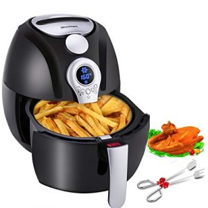 Heißluftfritteuse,Blusmart Power Fritteuse Ohne Öl ✓Gesund✓Multifunktional, air fryer mit LED Display, 3.4Qt/3.2L Heißluft fett-frei,BPA-frei,Heißluft friteuse,1400W,Frittierkorb & gratis Rezeptheft