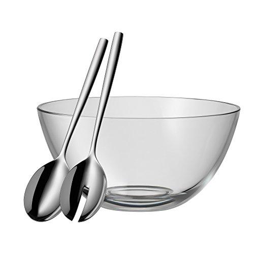 WMF Salatschüssel-Set 3-teilig TAVERNO Glasschale Ø 23,5 cm Salatbesteck 25 cm Glas Edelstahl Cromargan rostfrei spülmaschinengeeignet