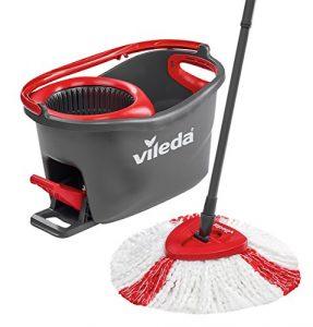 Vileda Turbo EasyWring & Clean Komplett Set, mit 2-Faser-Wischmop und Rotationseimer mit Powerschleuder