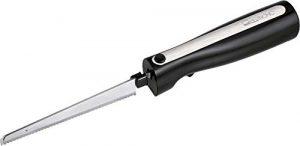 Elektromesser Küche Elektrisches Messer für Fleisch Küchenmesser Elektrisch für Gefriergut (Edelstahl Klinge, Wellenschliff, Brotmesser, 120 Watt, Schwarz)