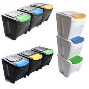 Mülleimer Abfalleimer Mülltrennsystem 60L – 3x20L Behälter Sorti Box Müllsortierer 3 Farben von rg-vertrieb (Anthrazit)