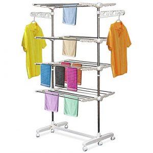 HOMCOM Mobiler Wäscheständer Wäschetrockner-Turm Seitenflügel auf 3 oder 4 Ebenen klappbar (4 Ebene)