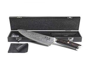 Damastmesser – japanisches Küchenmesser aus Damaststahl mit 67 Lagen, 20 cm VG-10 Klinge, Kochmesser aus Damaszenerstahl in Holzbox