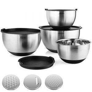 Homfa Edelstahlschüssel 4 Stück Küchenschüssel aus Edelstahl Salatschüssel mit 3 Gemüsereiben Rührschüsseln mit Deckel stapelbar Rutschfester Schüssel 4er Set von 1L, 2L, 3L, 4.5L
