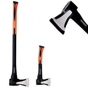 Deuba Axt + Beil 2er Set | ergonomischer Handgriff | Gummischutz – Universal Spaltaxt Spaltbeil Spalthammer Holzspalter