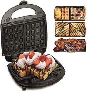 3in1 Waffeleisen   Sandwichmaker   Elektrogrill   Sandwichtoaster   Kontaktgrill   Paninigrill   Waffeltoaster   3 Auswechselbare Platten   Sandwich Maker   Panini Grill   Grill