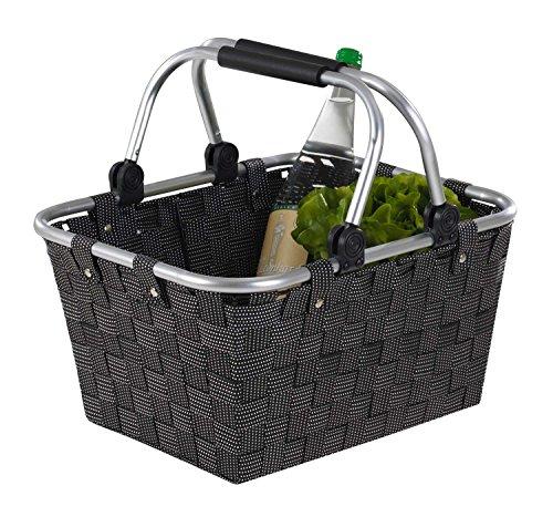 Home4You Einkaufskorb Einkaufstasche Carry   Kunststoff geflochten   Schwarz   mit Griffen   40x30x20 cm