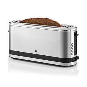 WMF KÜCHENminis Langschlitz-Toaster (900 Watt, integrierter Brötchenwärmer, 2 XXL Brotscheiben, Auftau-Funktion) cromargan matt/silber