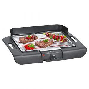 Clatronic BQ 3507 Barbecue-Tischgrill, Verchromter Grillrost, Metallauffangschale, Windschutz, Cool Touch-Gehäuse, Schwarz, 2000 Watt