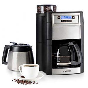 Klarstein Aromatica II Duo Kaffeemaschine mit Mahlwerk • Filter-Kaffeemaschine • 1000 Watt • 1.25 Liter Glaskanne • 1.25 Liter Thermoskanne • Timer • inkl. Permanent- und Aktivkohle Filter • silber