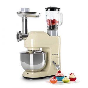 Klarstein Lucia Morena • Universal Küchenmaschine • Rührmaschine • 1200W • 5L • planetarisches Rührsystem • Fleischwolf • Pasta-Aufsätze • Mixbecher mit 1,5 L • 6-stufige Geschwindigkeit • creme
