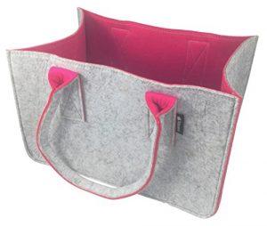 Shopping Bag aus Filz, große Einkaufs-Tasche mit Henkel, Einkaufs-Korb, faltbare Kaminholztasche zur Aufbewahrung von Holz, vielseitige Tragetasche zur Spielzeug Aufbewahrung, Farbe grau/magenta