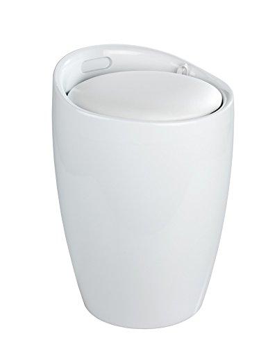 Wenko 20631100 Hocker Candy White - Badhocker, mit abnehmbarem Wäschesack, 36 x 50,5 x 36 cm