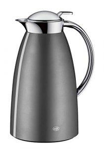 alfi 3561.218.100 Isolierkanne Gusto, Edelstahl Space Grey 1,0 l, Absolut dicht, zerlegbarer Verschluss, 12 Stunden heiß, 24 Stunden kalt