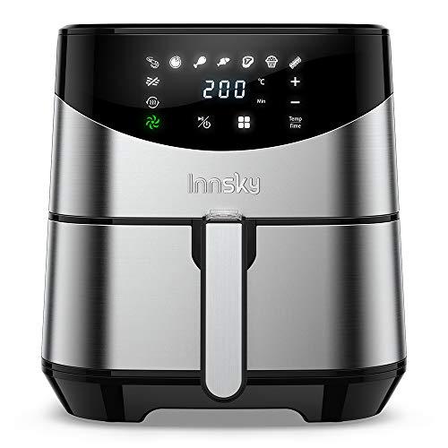 Innsky XXL 5.5L Heißluftfritteuse(Edelstahl)   Airfryer mit digitalen LCD-Display   8 Programmen 1700W Heissluft-fritteusen  ohne ÖL   GRATIS Rezeptbuch