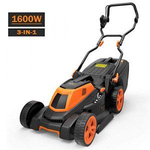 Rasenmäher, Tacklife 1600W Elektro Rasenmäher mit 38cm Schnittbreite und 6 Facher Höhen Einstellung 25-75 mm, 3-in-1 Rasenmäher mit Kabel und 40L Grasfläche für Große Rasenflächen