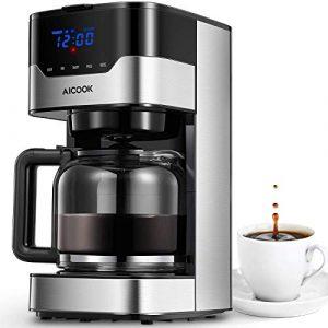 Aicook Kaffeemaschine mit Timerfunktion, Programmierbarer Filterkaffeemaschine Einstellbare Kaffeekonzentration, Anti-Drip-Funktion, Touchscreen, Dauerfilter, 900 W, Schwarz