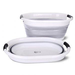 yoouu Premium – Wäschekorb, faltbar und wasserdicht | moderner Wäschesammler in 3 stylischen Farben | Maße (LxBxH) 62,5 x 45,0 x 27,0 cm (H: 6,5 cm gefaltet) | Wäschebox (grau)