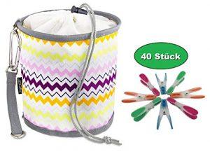 ZWICKER Design Wäscheklammerbeutel zum Aufhängen – Klammerbeutel mit 40 Wäscheklammern I Outdoor Wäschespinne Wäscheleine I 4,1l