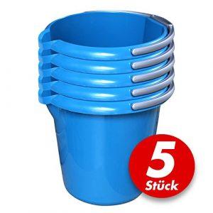 Putzeimer Set – 5 Stück mit Ausguss und Skala, 10 Liter – Eimer rund, Wassereimer Kunststoff, Haushaltseimer Plastik – verschiedene Farben, Farbe:azur