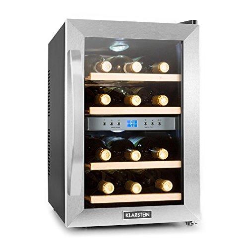 Klarstein Reserva • Getränkekühlschrank • Weinkühlschrank • 34 L • 12 Flaschen • 4 Regaleinschübe • leise • 2 Zonen • 7-18°C Temperaturbereich • LED-Innenbeleuchtung • schwarz-silber