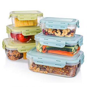 Frischhaltedosen set, Haipei 6tlg Brotdosen Set Stapelbar, Klassifizierter Speicher, BPA-frei, Clip & Close, gute Dichtung Geeignet für Gefrierschrank, Spülmaschine, Grün und Blau
