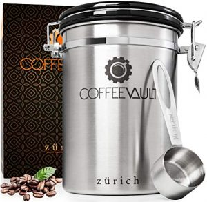 KAFFEEDOSE / AROMADOSE mit Deckel aus rostfreiem Edelstahl für die perfekte Aufbewahrung von Kaffee – Luftdichter Vorratsbehälter aus Premium Qualität mit Edelstahldosierlöffel gratis