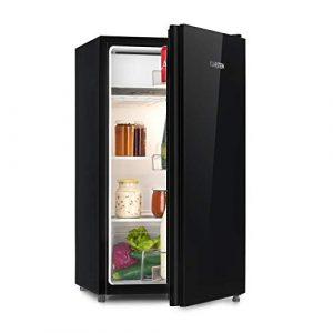 Klarstein Luminance Frost Kühlschrank (91 Liter Volumen, Energieeffizienzklasse: A+, Front aus Glas, Gemüse-Fach, 2 Glasböden, 3 Türfächer, 7-stufige Temperatureinstellung) schwarz