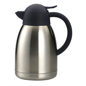 Isolierkanne Edelstahl doppelwandig – Teekanne silber mit Drehverschluss zum Warmhalten von Kaffee,Tee und Heißwasser-Fassungsvermögen: ca. 1,5 Liter
