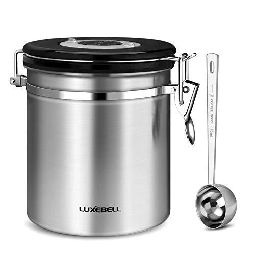 Luxebell Kaffeedose Edelstahldose Aromaverschluss für 500g / 1,2 Liter Kaffeebohnen, Tee, Kakao, Müsli, Nudeln, Haferflocken usw. Silber mit kostenlosem Edelstahl Löffel
