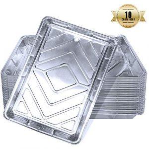 Aluschalen rechteckig, Einweg Schalen aus Aluminiumfolie zum Backen, Kochen, Gefrieren und Aufbewahren von Lebensmitteln, Grillschalen mit Deckel, Alu-Tropfschalen (5 Stück)