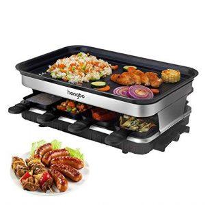 Raclette Grill mit Antihaft-beschichtete Thermisch Isolierte Griffe 8 Pfännchen für 8 Personen 1500W Schwarz
