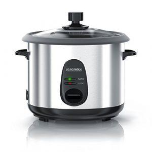 Arendo – Reiskocher Edelstahl mit Warmhaltefunktion und Dampfgarerfunktion | Dampfgarer | 1,5 Liter Kapazität | Gehäuse Alu gebürstet