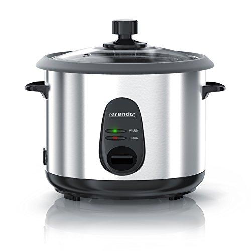 Arendo - Reiskocher Edelstahl mit Warmhaltefunktion und Dampfgarerfunktion   Dampfgarer   1,5 Liter Kapazität   Gehäuse Alu gebürstet