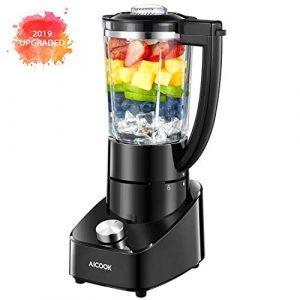 Mixer Standmixer 2019 Update 1.5L Glasbehälter Smoothie Maker mit Mix System für Smoothie und gefrorene Fruchtgetränke, 2-Gang Edelstahlmixer mit Safe Lock, 700W, 21000U / Min AICOOK