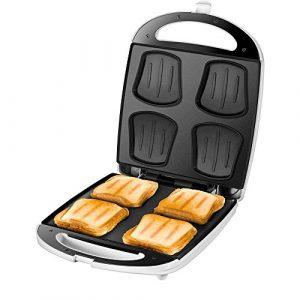 Unold 48480 Sandwich Maker Quadro für 4 Toasts gleichzeitig, Antihaft-Beschichtung, Wärmeisolierung, automatische Temperaturregelung, 1.100 Watt, weiß/Edelstahl, Plastik, 4 kilograms