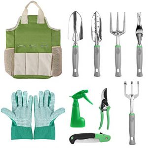 FIXKIT 10 PCS Gartengeräte-Set, Gartengeräte aus Kelle, Transplanter, Weeder, Handrechen, Handgabel, 600D Oxford Stofftasche usw.