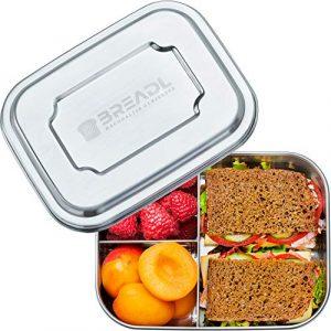 BREADL Edelstahl Brotdose, Spülmaschinenfest, Plastikfrei, 17x13x6cm, 1000ml, BPA-frei, Trennwand und 3 Fächer, Lunchbox & Bento-Box für Kinder & Erwachsene